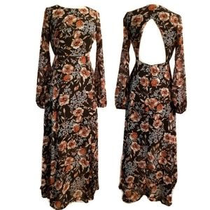 Nasty Gal Floral Cut Out Back Maxi Dress